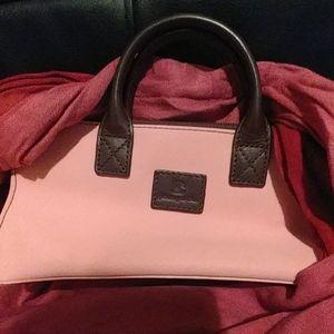Pink and brown handbag